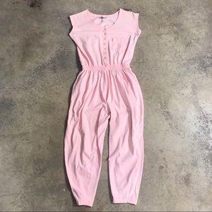 80s Oakbrook Peach Casual Lounge Jumpsuit